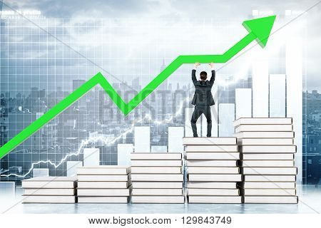 Education concept with man standing on book stairway and upholding green arrow on business chart background. 3D Rendering