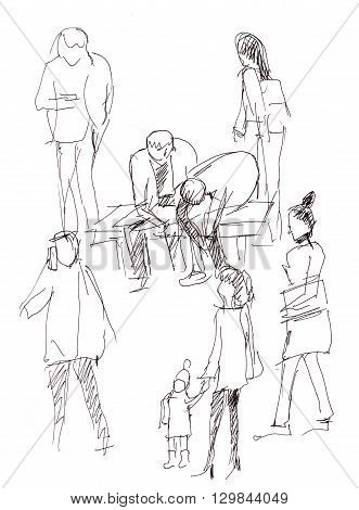 Instant sketch people waiting the electric train