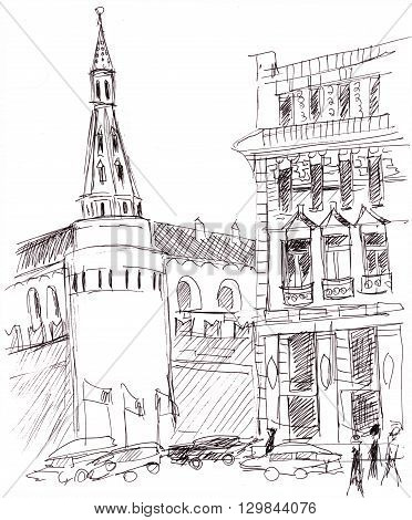 Instant sketch Moscow street with cars and people