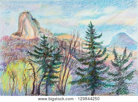 Panorama of the mountains, April, north Caucasus