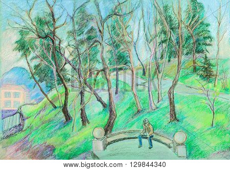 Old park in mountains in sunny spring day