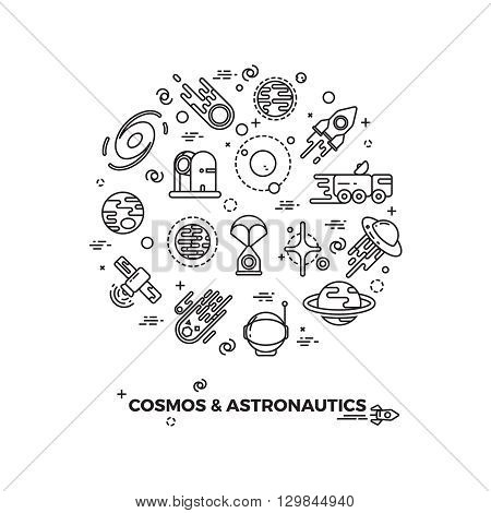 Planets, space and rocket vector icons. Comet and asteroid in space, travel flight space cosmic illustration