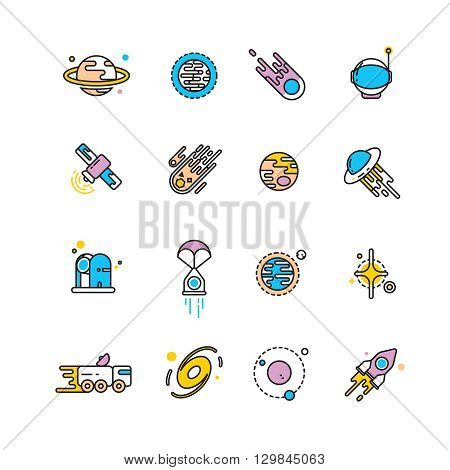 Cosmos exploration flat icons with planets and rockets. Exploration interstellar and icon set universe vehicle for exploration space. Vector illustration