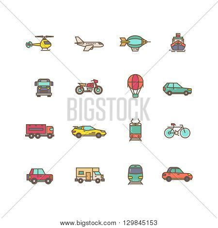 Transportation flat vector icons set. Air transport helicopter and plane and dirigible. Transport road bus bike and car illustration