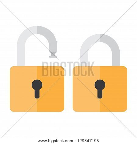 Lock icon. Lock icon in flat style. Lock open. Lock closed. Concept password blocking security. Lock symbol. Lock vector icon. lock icon isolated.