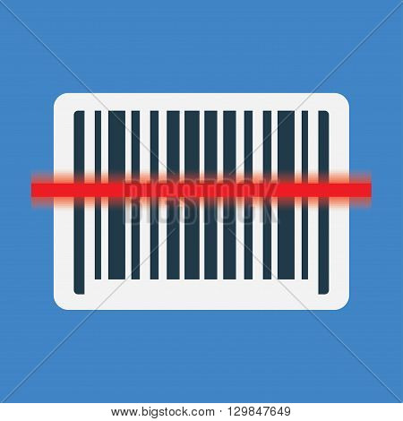 Barcode scanning icon with red laser line