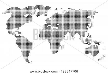 Computer graphic World map of gray round dots. Vector illustration world map