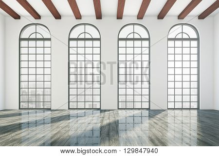 Empty business room interior with windows and glossy wooden floor. 3D Rendering of unfurnished office room. Concept of new entrepreneurship foundation