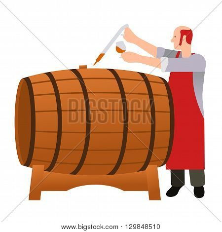 Master gains a sample of oak barrels for aging tasting castles and taste whiskey brandy calvados wine. Vector flat Illustration. Web design web icon food menu. Isolated on a white background.