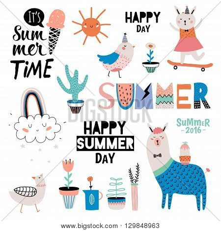 Cute Summer Design Scandinavian Set of Trendy Holiday Summer Elements. Summer Typographic. Vector. Isolated. White Background. Modern Summer Concept. Hawaii, holiday, palm