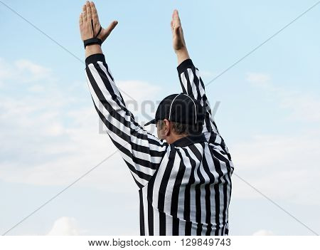 The back of an American football referee clipping path