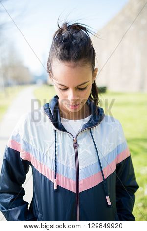 Runner Hispanic Woman Portrait Outdoors