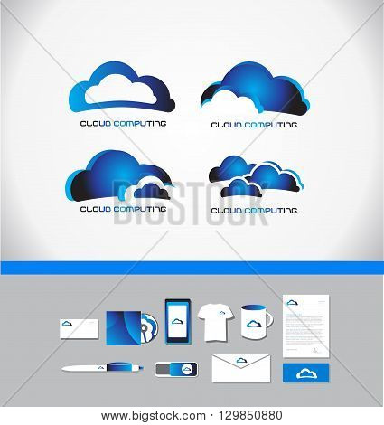 Vector company logo icon element template cloud computing storage hosting technology data