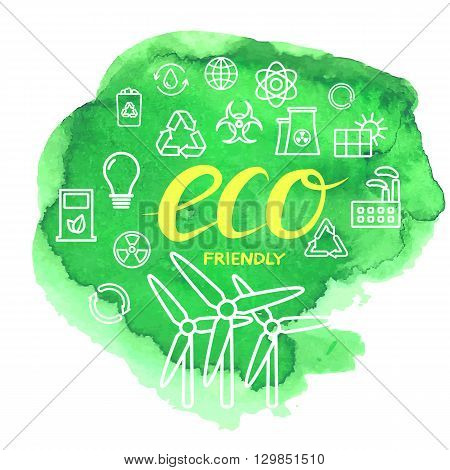 Thin outline vector ecological icons set on watercolor stain with inscription ECO FRIENDLY. Icons for environmental, recycling, renewable energy, nature. Ecological icons collection isolated, eco icons, ecologe icons