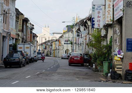 PENANG MALAYSIA - MAY 10 2016 : Sino-Portuguese House in George Town Penang Malaysia