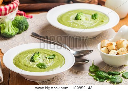 vegetables Broccoli cream soup on wooden table