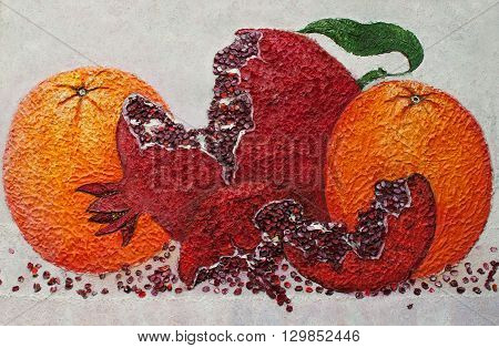 pomegranate of victory original relief oil painting, three pomegranates amazing painting style on canvas, fine art unique painting, red pomegranate between two oranges relief painting impressionism