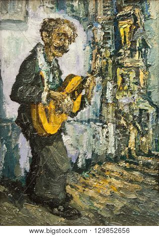 street muscian playing on guitar original oil painting on canvas, gypsy on the street playing music impressionism style painting, hand drawing style, musicians unique painting collection