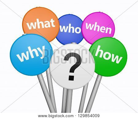 Business and customers questions concept with question mark symbol and questions words on colorful sign 3D illustration isolated on white background.