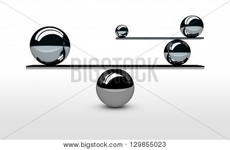 Balancing the perfect system lifestyle and business balance concept with balanced balls of different sizes 3D illustration.
