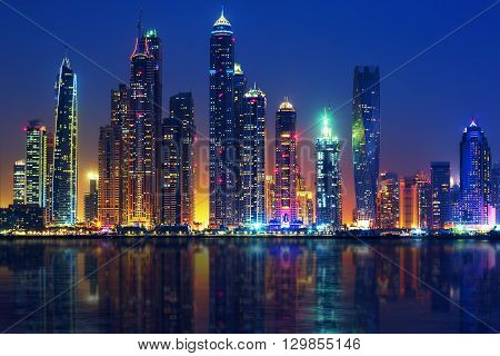 Horizontal view of Dubai by night UAE