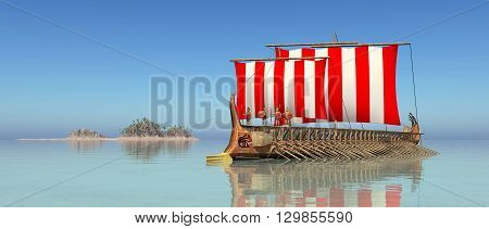 Computer generated 3D illustration with a trireme of ancient Greece