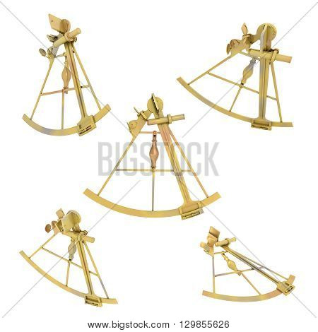 Computer generated 3D illustration with a sextant in various positions isolated on white background