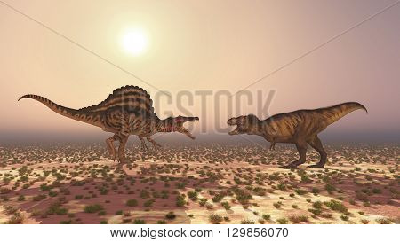 Computer generated 3D illustration with the dinosaurs Spinosaurus and Tyrannosaurus Rex attacking each other