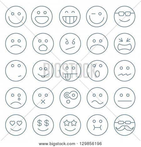 Thin line emoticon vector icon set.
