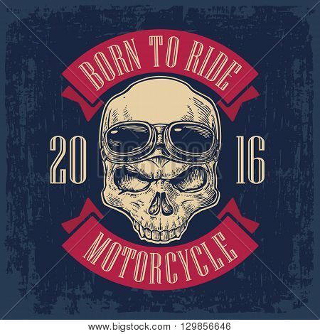 Skull with glasses for motorcycle on forehead. Black vintage vector illustration. For poster and tattoo biker, motorcycle club. Hand drawn design element isolated on dark blue background.