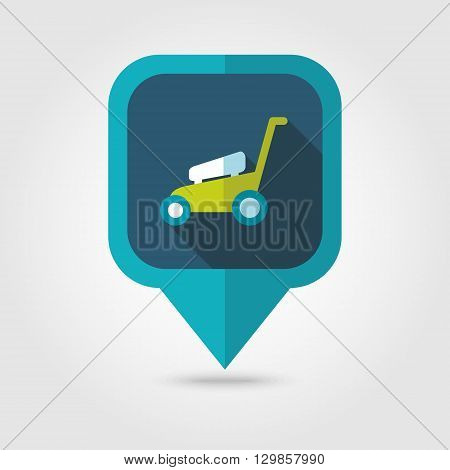 Lawn Mowers flat vector pin map icon. Map pointer. Map markers. Garden eps 10