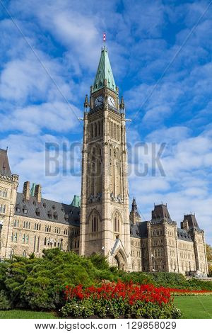 OTTAWA CANADA - 12TH OCTOBER 2014: The houses of parliament in Ottawa during the day.