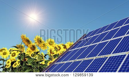 Computer generated 3D illustration with solar panel, sun and sunflowers