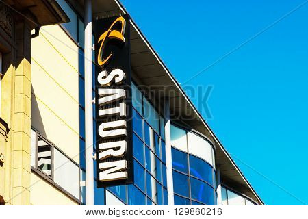 ROSTOCK GERMANY - May 12 2016: Saturn store. Saturn is a German chain of electronics stores