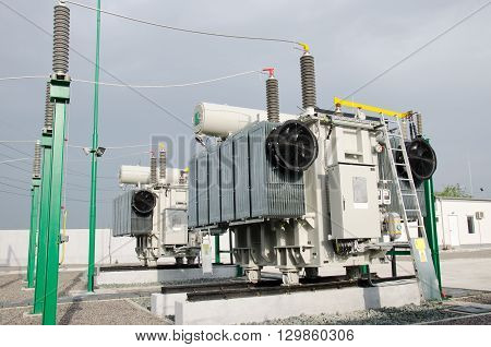High voltage electrical substation for rail road power supply poster