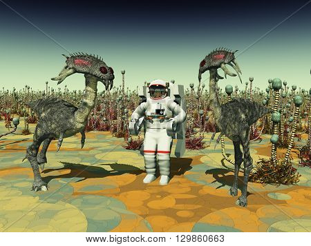 Computer generated 3D illustration with extraterrestrial life and astronaut