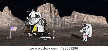 Computer generated 3D illustration with lunar module and astronaut