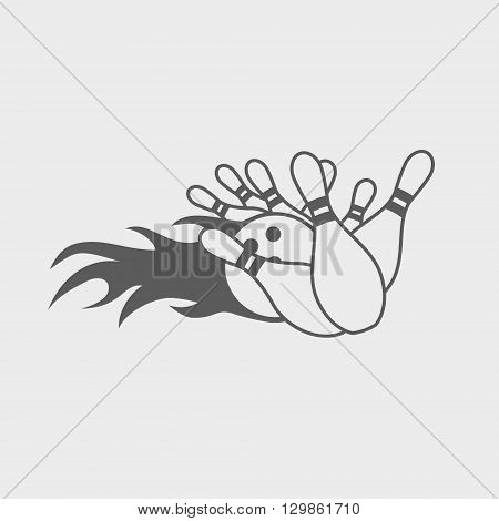 Bowling Ball Knocks Down Pins. Vector Icon, Sign Or Symbol Design Template