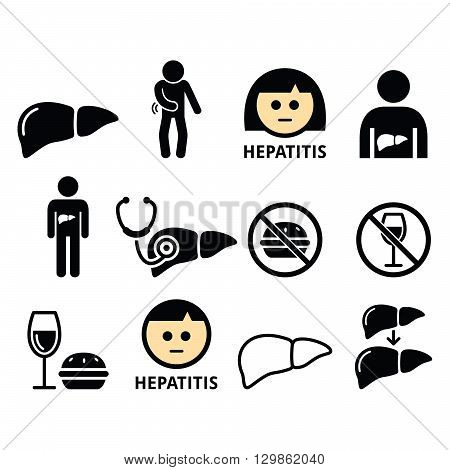 Liver disease, Hepatitis - health icons set