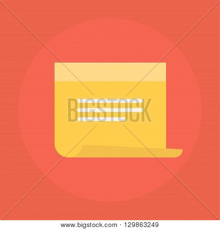 Sticky note vector icon in a flat style. Design yellow sticky note icon isolated on background. Concept paper sticky notes icon. Simple flat icon sticky notes with reminders. poster