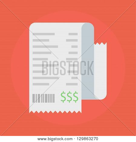 Receipt vector icon in a flat style. Receipts Icon isolated on a colored background. Concept paper receipts icons. Design receipt icon with a total cost.