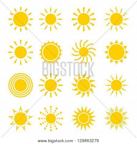 Sun icon vector set. Concept icons of the sun in a flat style. Different icons for sun logo. Collection of sun icons isolated on white background. Sun icon design.