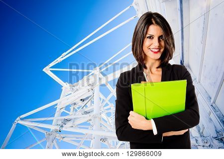 young businness woman over communications technology background