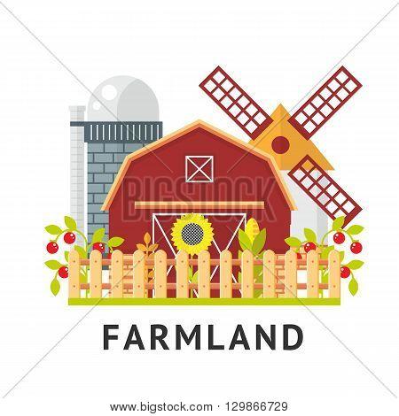 Farm  flat vector element. Isolated farm elements on white background.  agriculture farm house, farm food, farm object