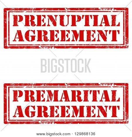 Set of grunge rubber stamps with text Prenuptial Agreement and Premarital Agreement,vector illustration