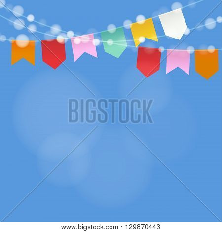 Brazilian june party. Festa junina. String of lights party flags. Summer party decoration. Festive blurred background. Stock vector illustration.