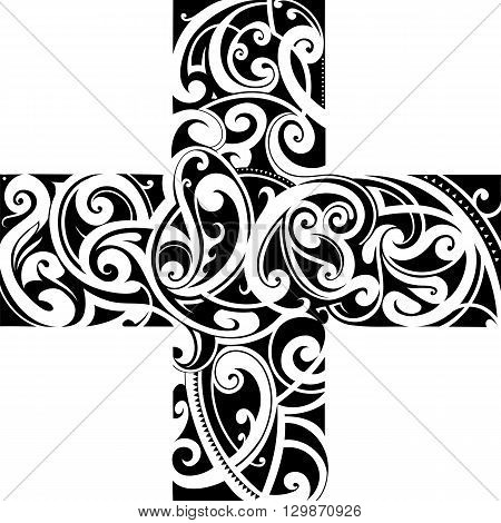 Tribal tattoo cross shaped. Traditional Maori style