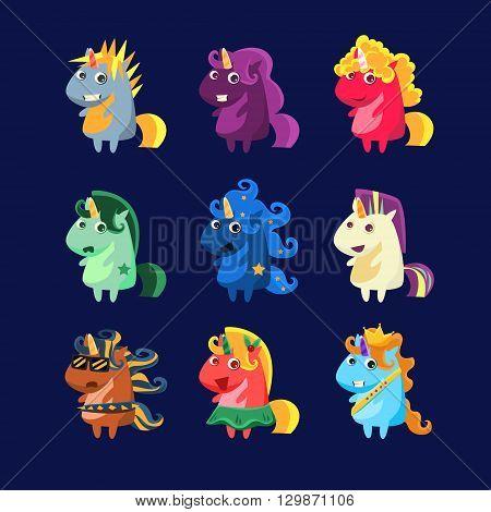 Unicorns In Costumes Set Of Flat Bright Color Childish Cartoon Design Vector Illustrations Isolated On Dark Background
