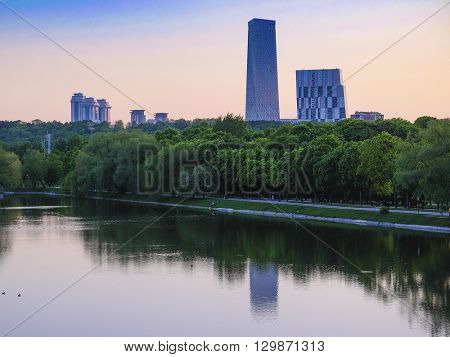 Landscape with the image of skycrapers in Moscow, Russia