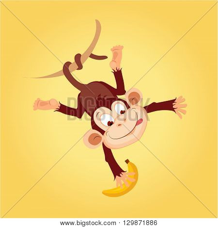 Monkey Hanging On Liana Flat Bright Color Simplified Vector Illustration In Fun Cartoon Style Design